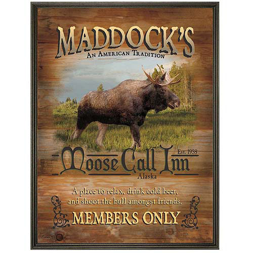 "Personalized Moose Call Inn Canvas Framed Art, 16"" x 20"""