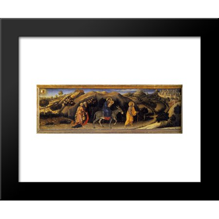 Adoration of the Magi Altarpiece, left hand predella panel depicting Rest during The Flight into Egypt 20x24 Framed Art Print by Gentile da Fabriano Left Hand Panel