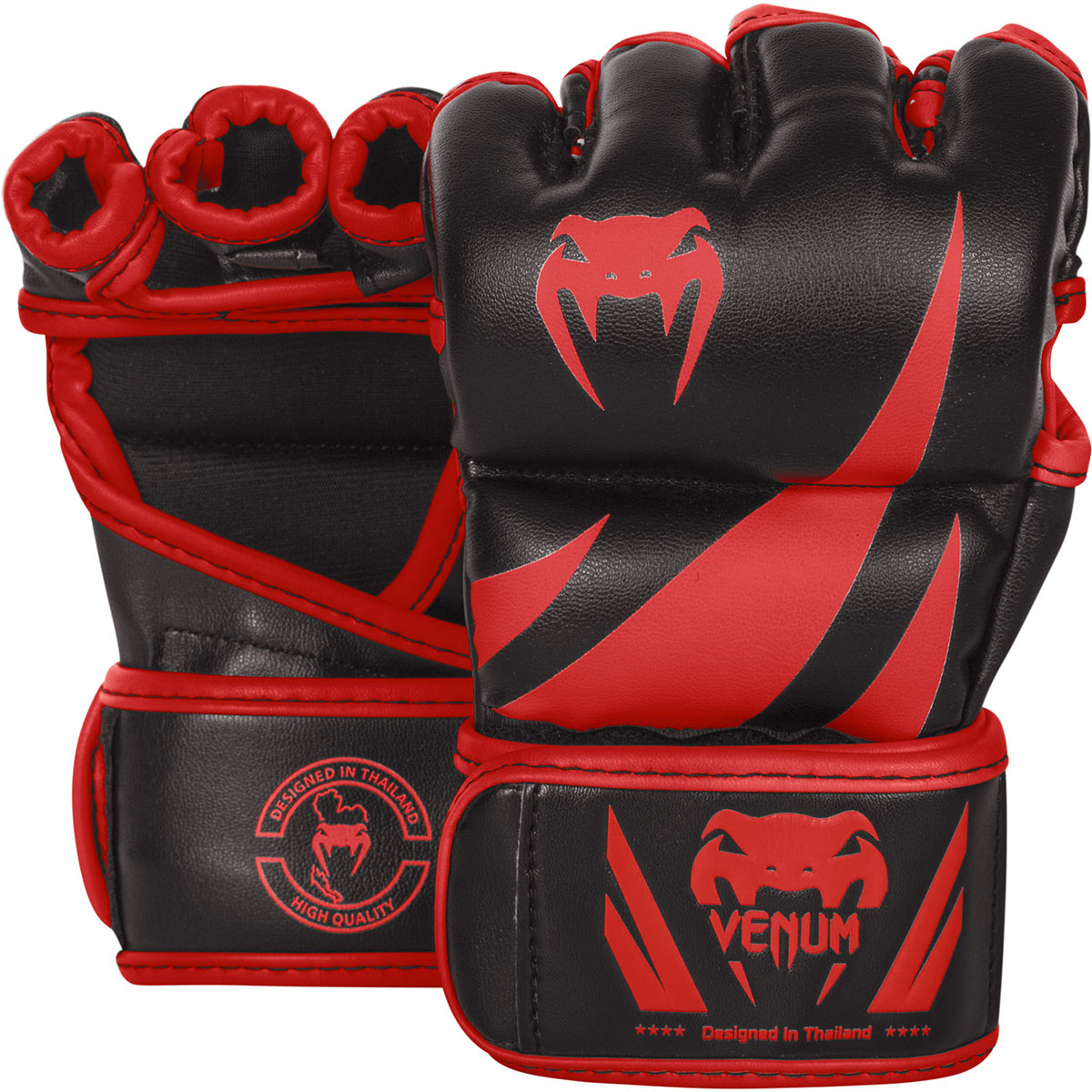 Venum Challenger Hook and Loop MMA Gloves - Black/Red