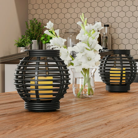 Decorative Round Candle Lantern with Rustic Rattan-Style Design, Set of 2- Energy Saving Flameless Pillar LED Candles with Lanterns By Lavish (Chrome Decorative Pillar Posts)