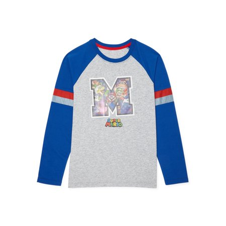 Super Mario Bros. Boys Mario & Friends Graphic Long Sleeve T-Shirt, Sizes 4-18