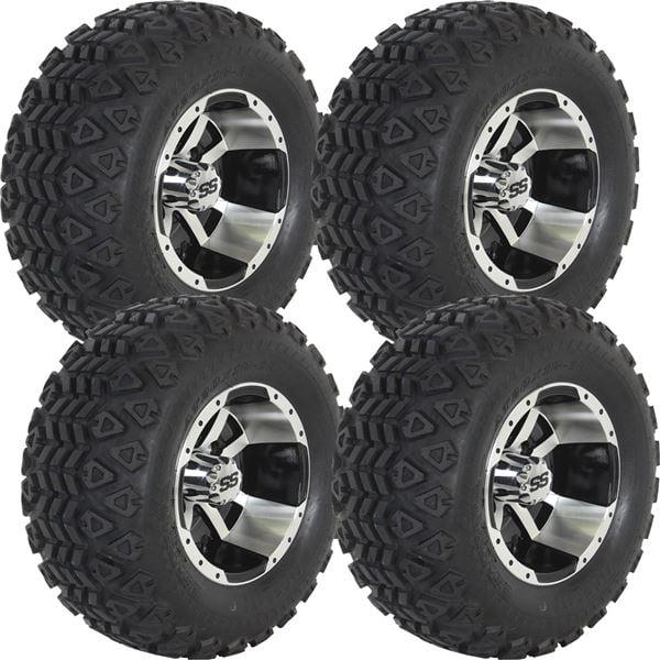 "Ocelot E107 10"" Machined/ Black Wheels + 20x10-10 Golf Cart Tire Kit (4)"