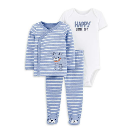 Child of Mine by Carter's Baby Boy Take Me Home Long Sleeve Cardigan, Short Sleeve Bodysuit & Footed Pants, 3pc Outfit Set
