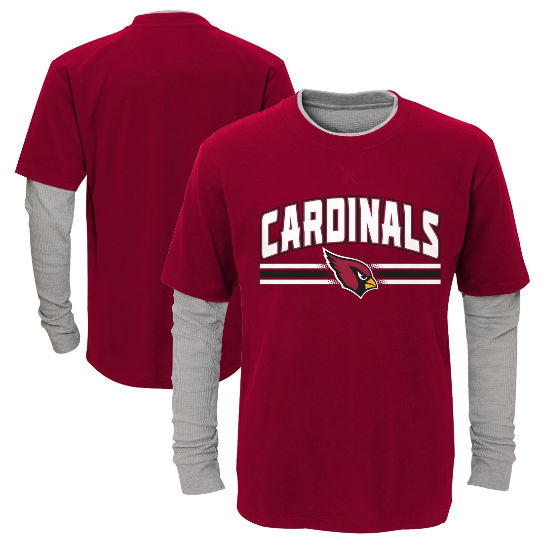 "Arizona Cardinals Youth NFL ""Bleachers"" L S Faux Layer Thermal Shirt by Outerstuff"