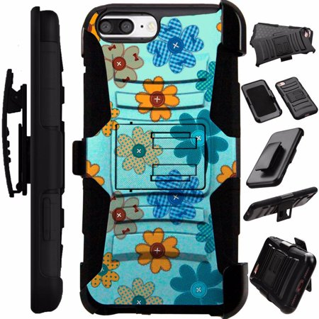 For Apple iPhone 5 Case / Apple iPhone 5s Case / Apple iPhone SE Case Heavy Duty Hybrid Armor Dual Layer Cover Kick Stand Rugged LuxGuard Holster (Teal Flower (Iphone 5s Home Button Not Working After Replacement)