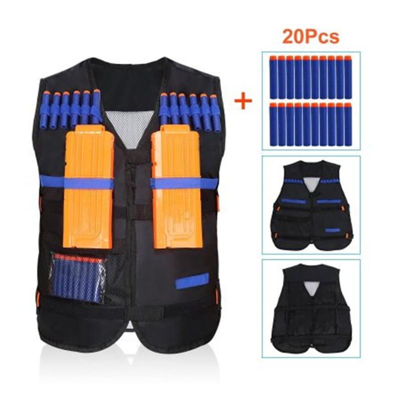 Kids Elite Tactical Vest + 20 Pcs Blue Soft Foam Darts for N-strike Elite Series(Not Including 2 Clips) Black by