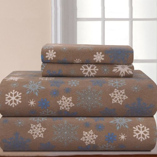 Heavy Weight Snow Flakes Flannel Sheet Set