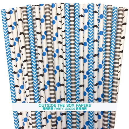 Mustache Themed Paper Straw Set in Black, Blue and White  125 - Moustache Straw