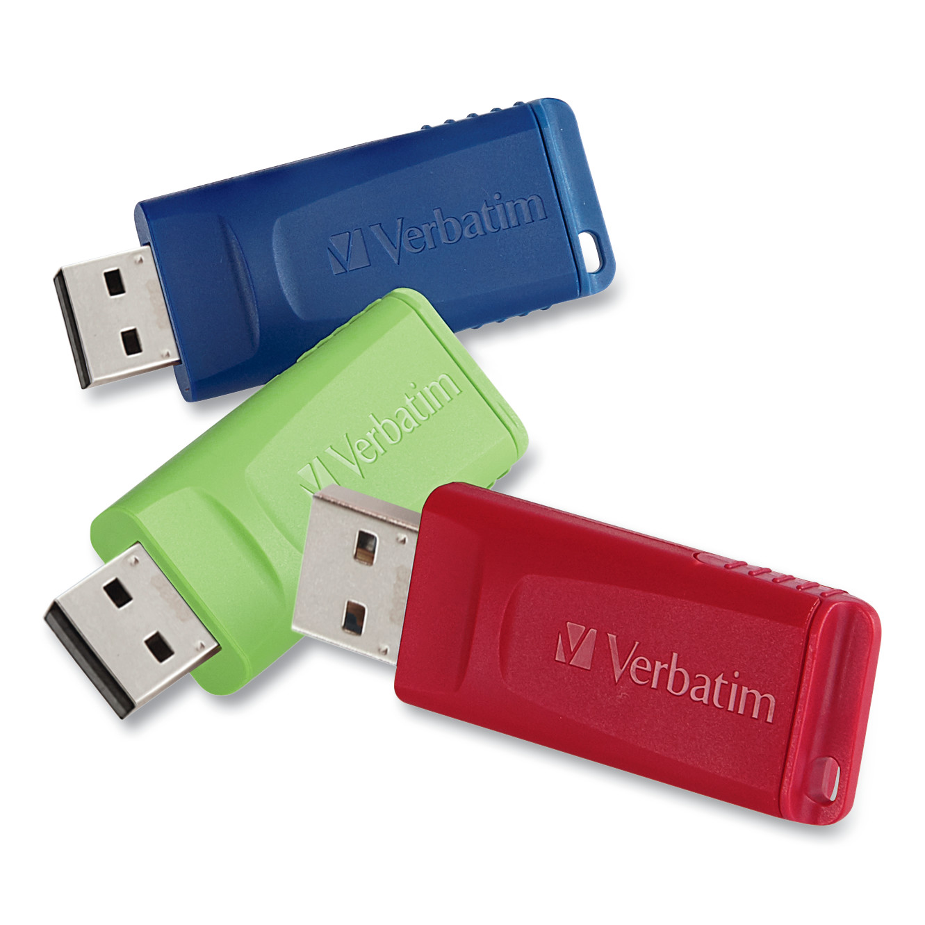 Verbatim Store 'n' Go USB 2.0 Flash Drive, 4GB, Blue/Green/Red, 3/Pack -VER97002
