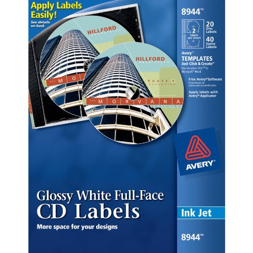 Avery Full-Face CD Labels for Inkjet Printers, Glossy Whi...