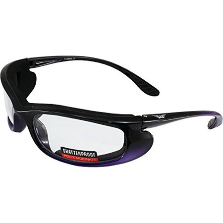 1bf6bfca86 Global Vision Shadow Motorcycle Riding Sunglasses Two-Tone Black and Purple  Frames Clear Lens - Walmart.com