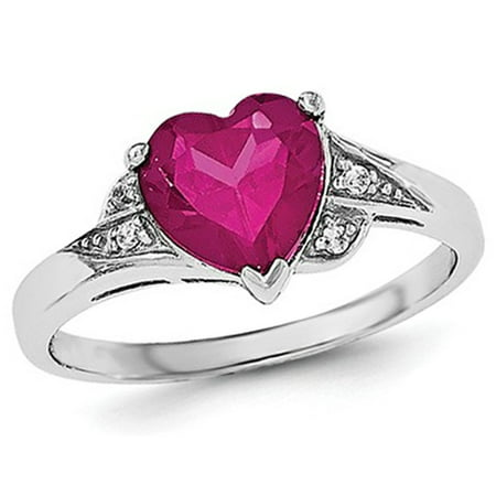 Synthetic Ruby (Synthetic Created Ruby Heart Promise Ring in Sterling Silver )
