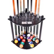 Pool Cue Rack Only 8 Pool Cue - Billiard Stick & Ball Floor Rack With Score Counters Black Finish