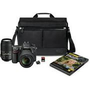 Nikon Black D7100 24.1MP Digital SLR Camera Kit, Includes AF-S DX 18-140mm and AF-S 55-300mm Lenses, DSLR Messenger Bag, 32GB Memory Card, Nikon School DVD and Wireless Mobile Adapter