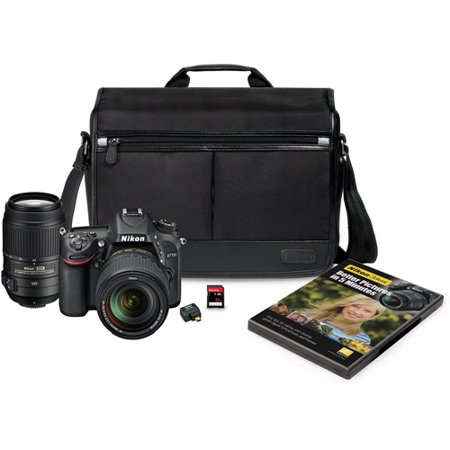 Nikon Black D7100 24.1MP Digital SLR Camera Kit, Includes AF-S DX 18-140mm and AF-S 55-300mm Lenses, DSLR Messenger Bag, 32GB Memory Card, Nikon School DVD and Wireless Mobile Adapter