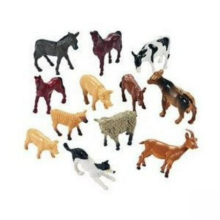 - Fun Express Miniature Farm Animal Toy Figures - 12 Pieces