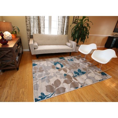 Generations New Contemporary Flowers Beige Navy Coral Blue Grey Modern Area Rugs 8037 ()