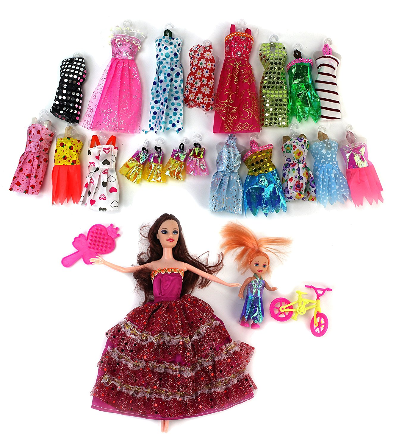 Madilynn Beauty Fashion Girl Kid's Toy Doll Fashion Variety Set w/ 2 Dolls, 18 Different Outfits , & Accessories