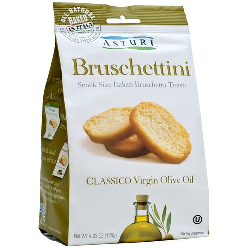 Asturi Bruschettini Classico Virgin Olive Oil Bruschetta Toasts, 4.23 oz