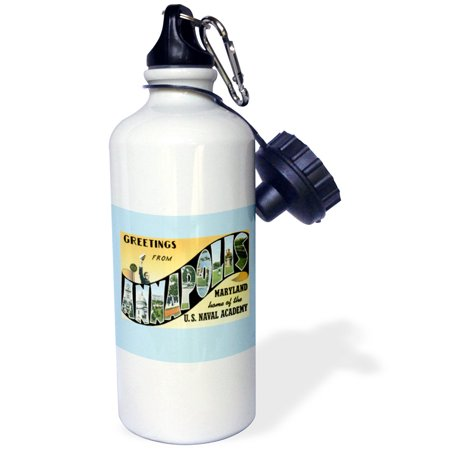3Drose Greetings From Annapolis Maryland Home Of The Naval Academy  Sports Water Bottle  21Oz