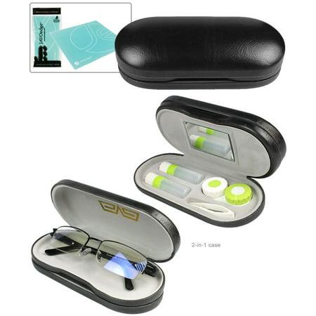 JAVOedge Black 2 en1 Lunettes et lentilles de contact Case Kit Case