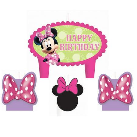 Disney Minnie Mouse Bowtique Birthday Candle Set - Minnie Birthday Cake