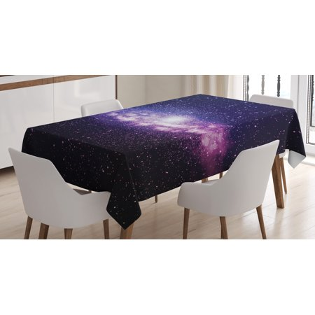 Galaxy Tablecloth  Glowing Nebula Cloud In Milky Way Infinity In Interstellar Solar System Design  Rectangular Table Cover For Dining Room Kitchen  60 X 90 Inches  Purple Dark Blue  By Ambesonne