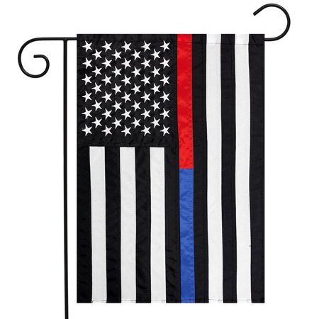 Thin Blue & Red Line Embroidered Garden Flag Police Fire Department 12.5