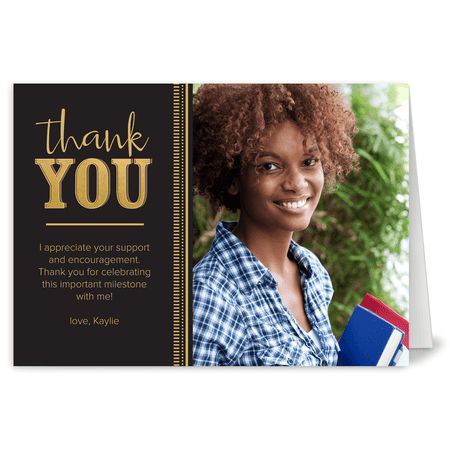 personalized graduation thank you card golden graduate 5 x 7 folded