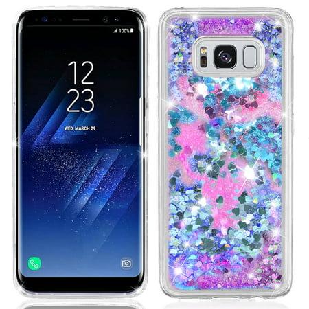 (Samsung Galaxy S8 Hearts Glitter Liquid TPU Shockproof Bumper Case Cover Blue)
