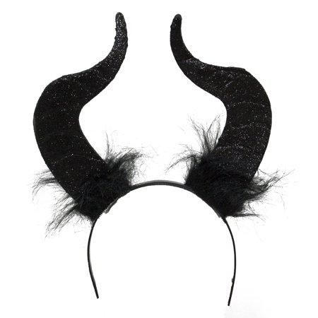Costume Accessory - Sparkly Black Glitter Devil Horns Headband