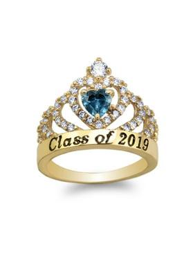JamesJenny 14K Yellow Gold School Class of 2019 Graduation Blue 0.5ct Heart CZ Ring Size 5-10