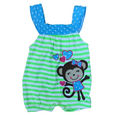 Infant Girls Green Stripe Monkey Bodysuit Heart Baby Creeper Outfit - Monkey Onesie