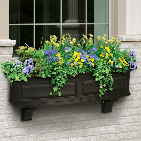 Nantucket Window Box 4FT Black Black Fiberglass Window Box