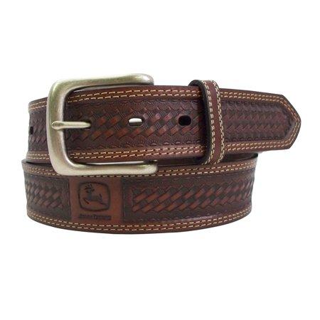 Size 32 Mens Leather Removable Buckle Basketweave Bridle Belt, Brown