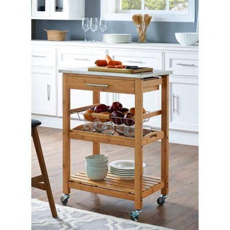 Boraam Aya Bamboo Kitchen Cart - Stainless Steel Top