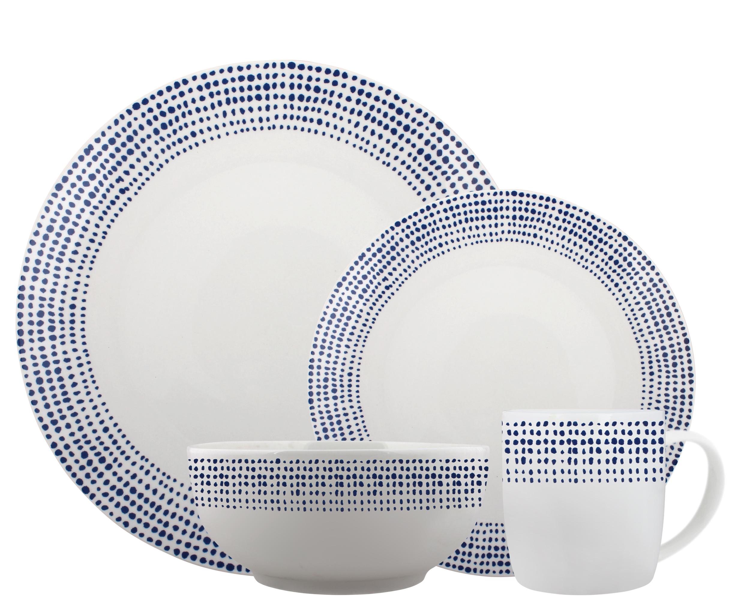 Melange Coupe 16 Piece Porcelain Dinner Set Blue Dots Service For 4 Microwave Dishwasher Oven Safe Dinner Plate Salad Plate Soup Bowl Mug 4 Each 16 Piece Service For 4 Walmart Com Walmart Com