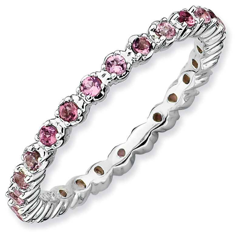Roy Rose Jewelry Sterling Silver Stackable Expressions Pink Tourmaline Ring ~ Size 7 by