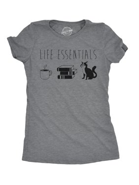 82699b5b Product Image Womens Life Essentials Tshirt Funny Coffee Books Cat Lover Tee  For Ladies