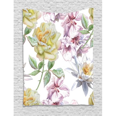 Floral Blooms (Floral Tapestry, Rose Petals Sakura Lily Flowers Blooms Romance Florets Design, Wall Hanging for Bedroom Living Room Dorm Decor, Pale Pink Yellow Fern Green, by)