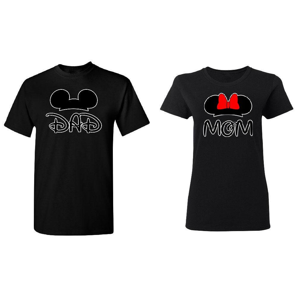 Couple T Shirt Mickey Head Daddy and Mommy Printed Top Casual Matching Clothes