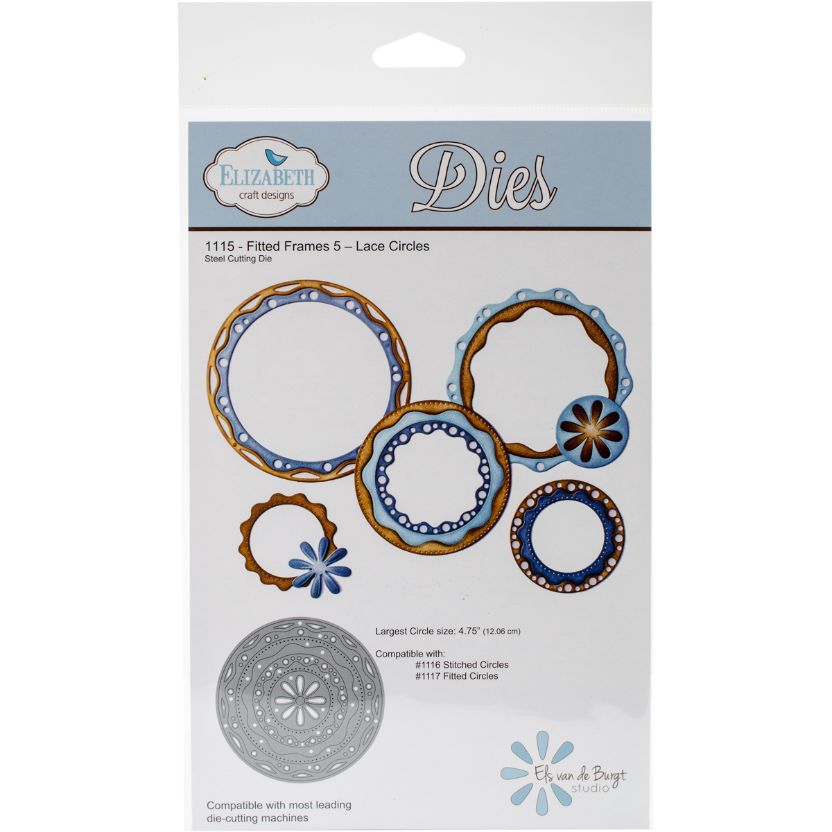 Elizabeth Craft Metal Die-Lace Circles - Fitted Frames 5, 4.75""