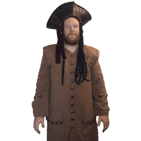 Captain Jack Sparrow Coat Adult Costume Pirates Of The Caribbean Depp Cosplay (Captain Jack Sparrow Wig)