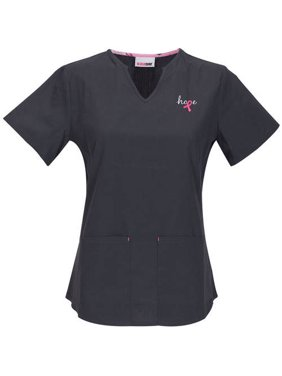 Women's Fashion Collection Breast Cancer Split V-Neck Scrub Top