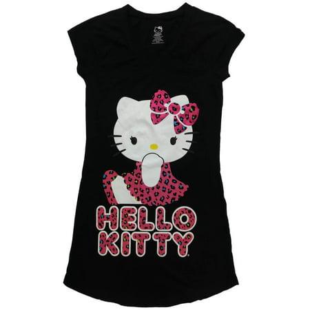 Womens Hello Kitty Cat Cheetah Leopard Print Nightgown Knit Kitten Sleep Shirt - Hello Kitty Leopard Print