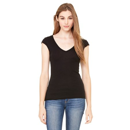Branded Bella + Canvas Ladies Sheer Mini Rib Cap Sleeve Deep V-Neck T-Shirt - BLACK - L (Instant Saving 5% & more on min 2)