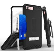 iPHONE 7/8 CASE, TRI-SHIELD RUGGED CASE with MAGNETIC KICKSTAND + BELT CLIP HOLSTER + LANYARD WRIST STRAP + WALLET CREDIT CARD SLOT + TEMPERED GLASS SCREEN PROTECTOR FOR APPLE iPHONE 7/8