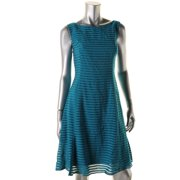 Adrianna Papell Womens Burnout Striped Cocktail Dress
