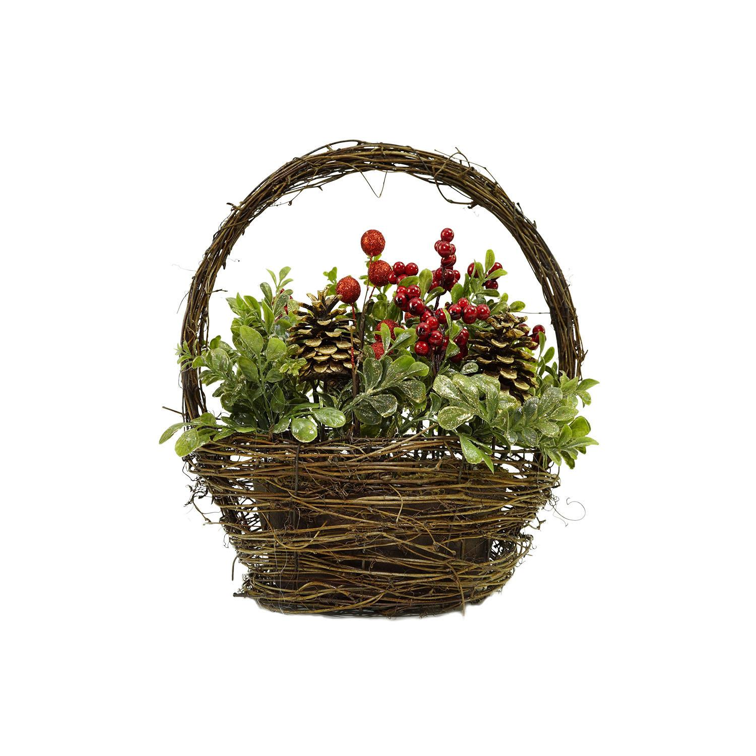 "12"" Pine Cones Berries and Boxwood in Twig Basket Christmas Tabletop Decoration"