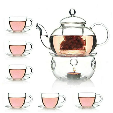 27 OZ Glass Filtering Tea Maker Teapot With a Warmer 6 Tea Cups and Saucers